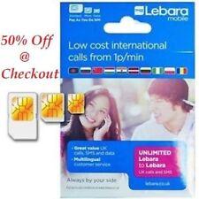 United Kingdom Colour Screen Lebara Triple Cut Mobile Phone SIM Cards