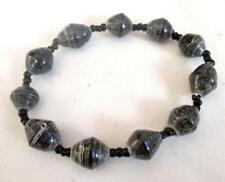 "Stretch  Bracelet Black Recycled Paper Bead Black Accent 7"" Unstretched"