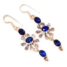 Tanzania Blue Tanzanite Oval Gemstone silver plated Handmade Bezel Long Earrings