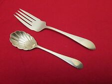 Dominick Haff Sterling Pointed Antique Sugar Shell Spoon Med Cold Meat Fork 1895