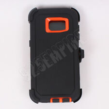 for Samsung Galaxy(S7 Edge) Black/Orange Defender Case with Screen Protector