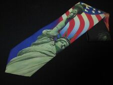 Ralph Marlin Tie Statue of Liberty NY Vintage 1999 US Flag Patriotic Novelty NEW
