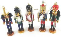"4"" Wood/Wooden Nutcracker Christmas Ornaments Set of Five Movable"