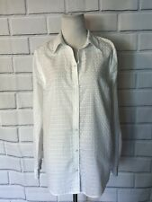 NWT Charter Club White Button Up Blouse Sz 6 Cotton Texture Top Long Slv New $59