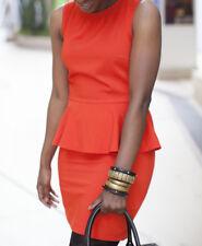 H&M Fluoro Neon Orange Mini Sleeveless Peplum Dress Bloggers Fave Size 12 EUR40