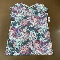 Ideology Women's Size XXL Hibiscus Garden Keyhole Athletic Tunic Top