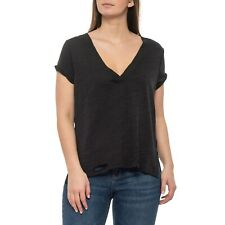 Free People Sundance Black Distress T Shirt Top Size S Small