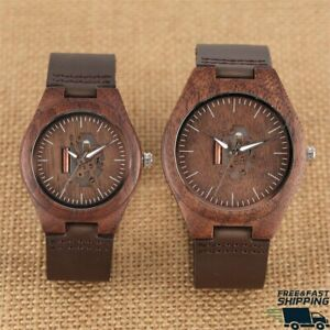 Wooden Watch Creative Arts Hollow Couple Timepiece Casual Genuine Leather unisex
