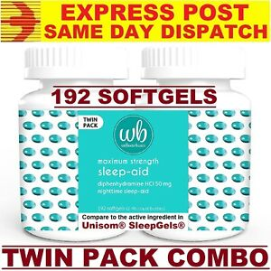 Wellness Basics Sleep AID 50mg 192 Softgels Twin Pack FRESH SYDNEY STOCK AU!