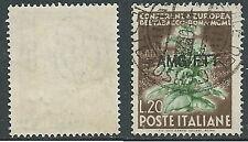 1950 TRIESTE A USATO TABACCO 20 LIRE FILIGRANA LETTERA - L1