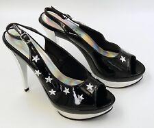 """Ellie """"Skylar"""" Black Platform Silver Star Slingback Sandal Shoes 5"""" Heel size 10"""