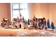Home affair Porzellan Weihnachtsdorf mit separater 10-teiliger Lichterkette  697