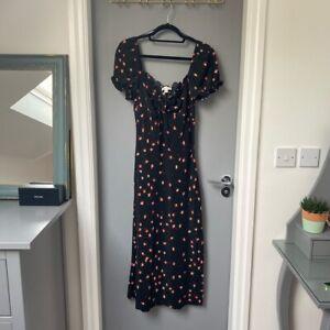 Topshop Midi Black Floral Milk Maid Top Detail Summer Dress UK 12
