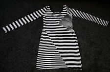 Cotton Club Striped Long sleeved black and white Bodycon Dress. Size 12