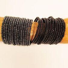 """Set of 2"" Multi Strand Beaded Bangle Handmade Cuff Bracelet Glass Beads"