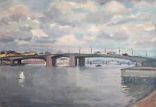 RIVER BRIDGE LANDSCAPE VINTAGE OIL PAINTING SIGNED