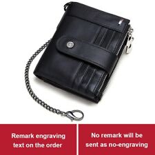 RFID Men Wallets Slim Leather Bifold Hasp Vintage Short Coin Card Chain Bag