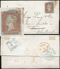 PENNY RED IMPERF IRELAND to SCOTLAND...BELFAST NUMERAL DENNY FORWARDED to CURRIE