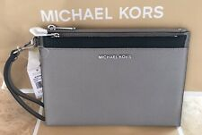Michael Kors XL Jet Set Travel PopOut Gray/Black Leather Clutch/Wristlet/Wallet