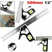 """300mm 12"""" Adjustable Engineers Combination Try Square Set Right Angle Ruler"""