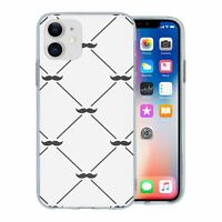 For Apple iPhone 11 Silicone Case Hipster Moustache Pattern - S1172