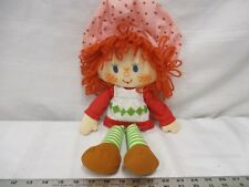 Strawberry shortcake doll pink hat red dress white apron red hair striped pants