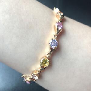 "2pcs 7"" 6mm Round Multi-color Zirconia CZ Bracelet Yellow Gold Filled Chain"