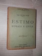 ESTIMO RURALE E CIVILE Pietro Ficai Hoepli 1928 libro scienza edilizia tecnica
