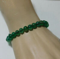 "Vintage Green Tourmaline Stone 6~7 mm Bead 7"" Bracelet 11.5gr. 9c 90"