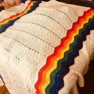 Vintage Queen Size White With Rainbow AccentAfghan Crochet Granny Square Blanket