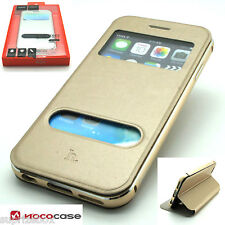 HOCO BLADE LEATHER WALLET & METAL BUMPER CASE IN BOX FOR APPLE IPHONE 6 6S GOLD