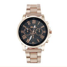 Men Sport Watch Roman Number Geneva Stainless Steel Quartz Dial WristWatch Black