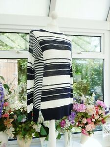 FABULOUS WHISTLES BLUE & WHITE COTTON BLEND FINE KNIT STRIPED TOP JUMPER Sz S