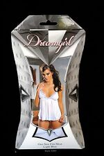 New White Babydoll with Light Blue Roses Trim & Thong One Size Boxed Bridal