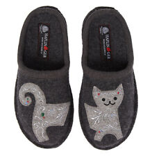 HAFLINGER Cat SLIPPERS EU 36 / US 5 Grey WOOL NEW