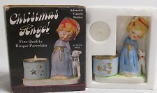 *VINTAGE* 1978 CHRISTMAS ANGEL PORCELAIN BISQUE CANDLE HOLDER WITH CANDLE Unused