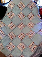 Handmade Flannel Rag Quilt Lite Blue with Lady Bugs crib size 38 x 50