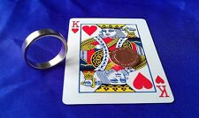 Pk Silver Magnetic Ring 23/24mm Plus Magnetic PK card + coin, Magic Trick NeFB