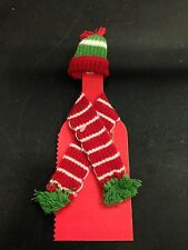 Tag Red Green And White Holiday Wine Bottle Hat And Scarf Decoration