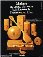 PUBLICITE ADVERTISING 105  1968  FABERGE  eau de toilette savon after-shave KIKU