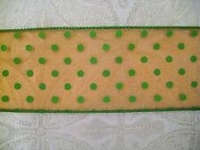 """$1.50/Yard Sheer Orange Green Dotted 2 1/2"""" Wired Ribbon by the Yard"""