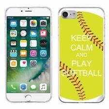 For Apple iPhone 8 Slim-Fit TPU Gel Protector Phone Case - Keep Calm Softball
