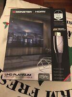 Monster UHD Platinum Fiber Optic HDMI Cable, 15 feet - WHV1-1010-BLK NEW