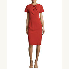 Zac Posen | NWT $1900 Short-Sleeve Pleated-Neck Dress in Tangerine Sz 4/6
