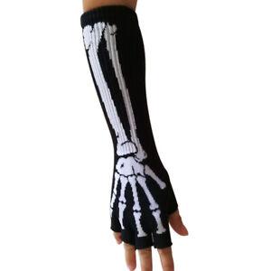 Women Men Stretchy Fingerless Long Hand Warmer Skeleton Gloves Glove