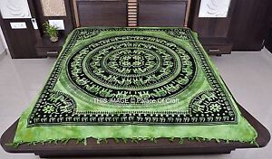 Indian Handmade Queen Size Ethnic Elephant Mandala Bed cover Wall Hanging Decor