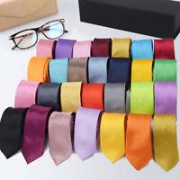 "2"" Men's Tie Classic Skinny Slim Striped Party Plain Silk Jacquard Woven Necktie"