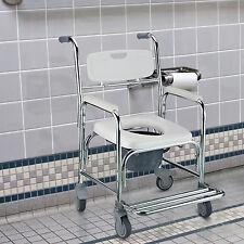 Homcom Transit a ruote mobilità Commode Bagno Medical Sedia Rotelle 4 Freni