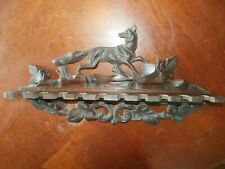 Vintage Antique Carved Wooden Tobacco Pipe Stand Rack Holder w/ Fox Topper