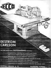 Ekstrom Carlson Model E Rip Saw Operator Instruction Manual